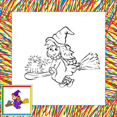 witch flying with her cat