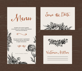 Wedding set. Menu, save the date, guest card. Black and white flowers peonies and roses. Vintage vector illustration.