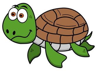 happy turtle swimming