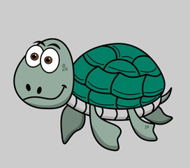 happy turtle swimming on grey background