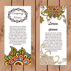 Abstract floral henna indian mehndi card with text
