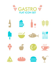 Vector Flat Icon Set - Gastronomy