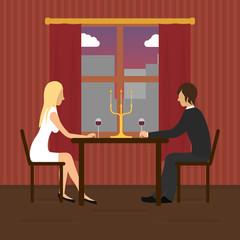 Loving couple in restaurant