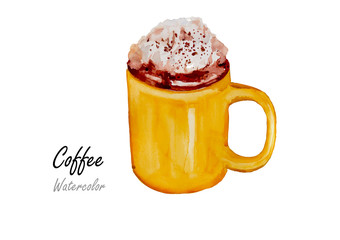 Smoothie coffee.Hand drawn watercolor painting  on white background.Vector illustration