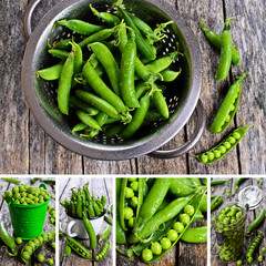 Collage of photos with peas