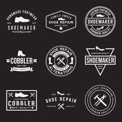 vector set of shoemaker and shoe repair labels, badges