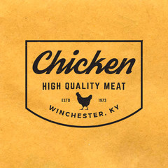 premium chicken meat label with grunge texture on old paper back