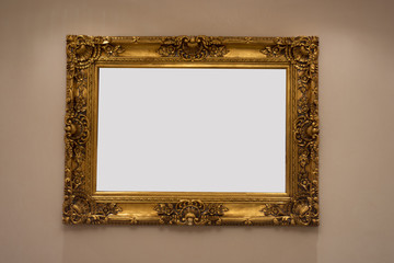 golden frame on wall interior
