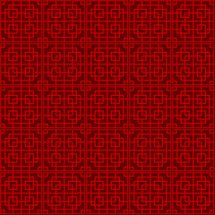 Seamless Chinese window tracery lattice square geometry pattern background.