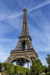 Eiffel Tower (La Tour Eiffel) on Champ de Mars in Paris, France.
