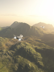 Spaceship Exploration Mission - Science fiction illustration of small spaceships flying a scouting mission across the mountains on an alien planet, 3d digitally rendered illustration