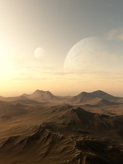 Planet Rise - Science fiction illustration of planets rising over the horizon of a desolate alien world, 3d digitally rendered illustration
