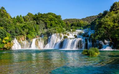 Lower cascade of waterfalls Skradinski Buk on a sunny day. Krka Wall mural