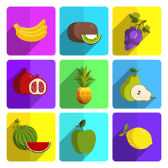 Colorful Fruit Icon Set on Bright Background