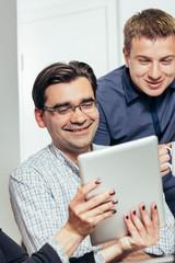 Photo of casual dressed people enjoying in work