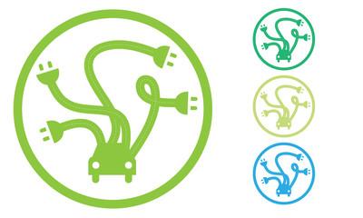 Auto elettrica con prese elettriche in cerca di ricarica per rifornimento