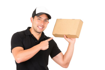 happy friendly confident delivery man carrying boxes