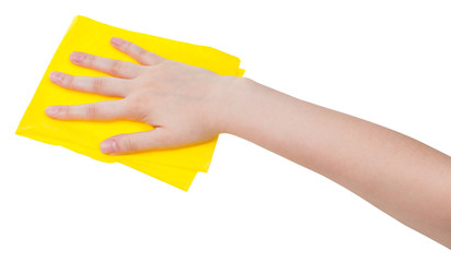 hand with yellow dusting rag isolated on white