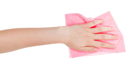 hand with pink wiping rag isolated on white