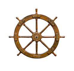 Old boat steering wheel isolated on white background. Useful for leadership and skillful management concepts