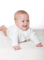 Cute happy baby in diaper