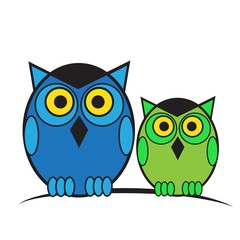Owls on branch vector illustration