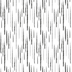 Abstract black ink grunge lines seamless pattern
