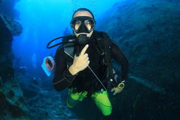 Scuba diver explores underwater cave