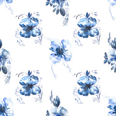 Seamless pattern with watercolor blue flowers