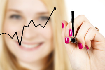 A smiling woman draws an exclamation point after rising graph.