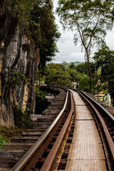 Railroad tracks on a dangerous path