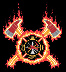Firefighter Cross With Axes and Flames is an illustration of a fire department or firefighter cross.