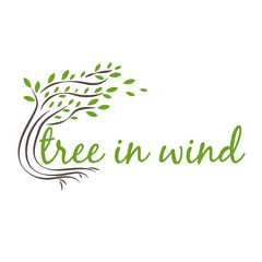 Illustration of tree in wind with text. vector