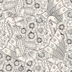 Mehendi tracery pattern, Seamless, handmade hindi peacock