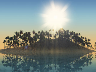 3D palm tree island with sunny sky