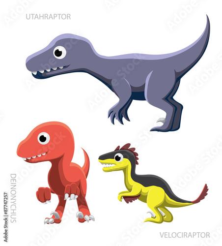 Dinosaur Raptors Vector Illustration