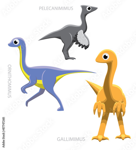 Dinosaur Ornithomimids Vector Illustration