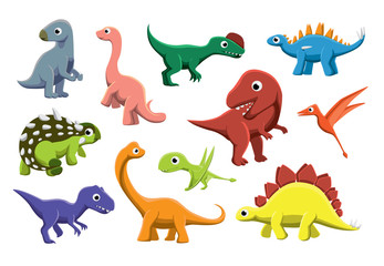 Jurassic Dinosaurs Cartoon Vector Illustration