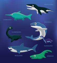 Sea Monsters Cartoon Vector Illustration