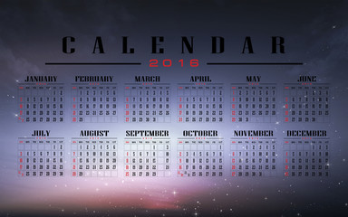 calendar 2016 with night sky background