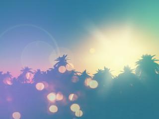 Foto op Plexiglas Blauwe jeans 3D palm tree landscape with retro effect