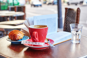 Breakfast in a Parisian street cafe