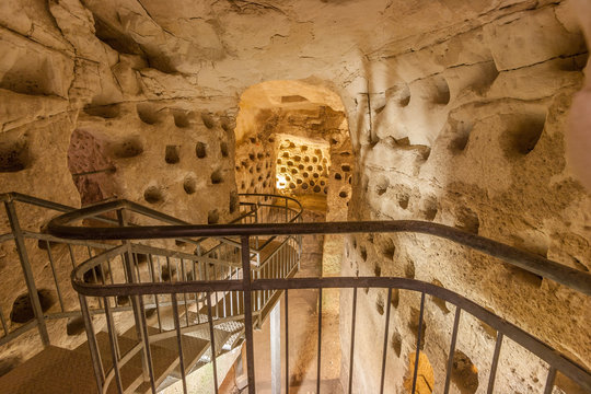 tunnels in underground caves, Beit Govrin, Israel