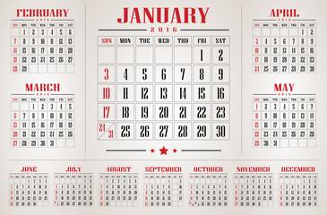 calendar 2016 vector and illustration