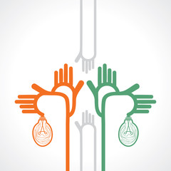 many hands with bulb vector