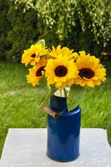 Fototapete - Bouquet of sunflowers in the garden.