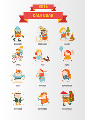 Calendar 2016 cute cartoon characters - Cover page Vector template design