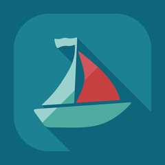 Flat modern design with shadow icon sailing ship