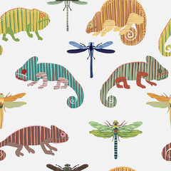 Seamless pattern with set chameleon and dragonfly in cartoon. Can be used for wallpapers, pattern fills, web page backgrounds,surface textures. - stock vector collection in retro colors