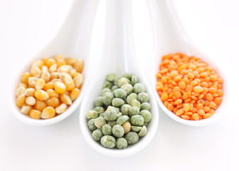 Yellow corn, red lentil and green peas
